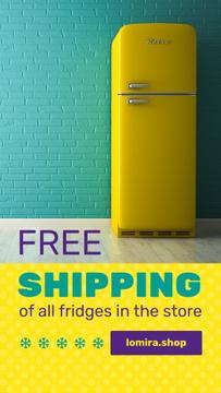 Sale Offer Yellow Fridge by Blue Brick Wall