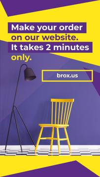 Furniture Store Yellow Chair by Purple Wall
