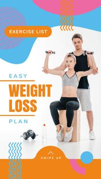 Weight Loss Program Ad with Coach and Exercising Woman