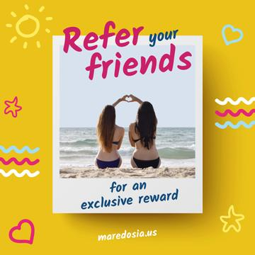 Summer Vacation Offer Girls Showing Heart
