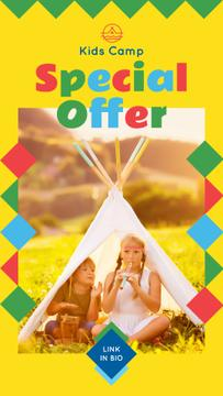 Summer Camp Invitation with Kids in Tent