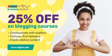 Lifestyle Blog Ad Woman Showing Heart Symbol in Yellow