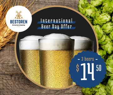 Beer Day Offer Glasses and Hops