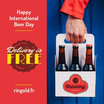 Beer Day Greeting with Courier Delivering Bottles
