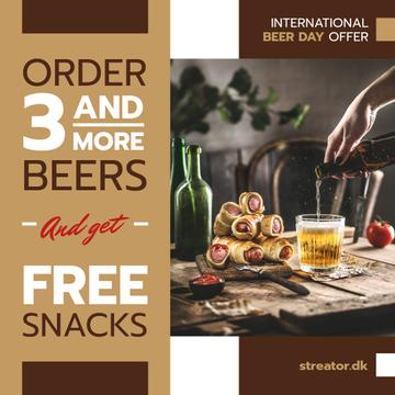Beer Day Offer Glass and Snacks on Table