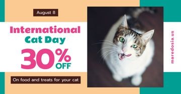 Cat Day Sale Cute Spotted Cat