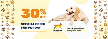 Pet Day Offer with Golden Retriever and Paws Icons