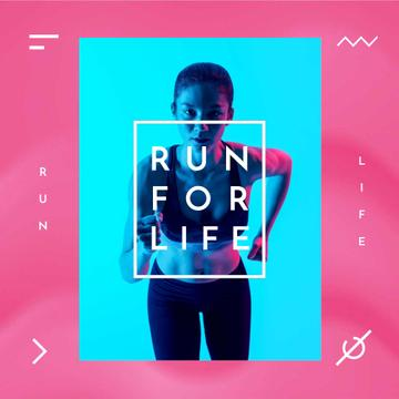 Running Club Ad with Woman Runner in Neon Light