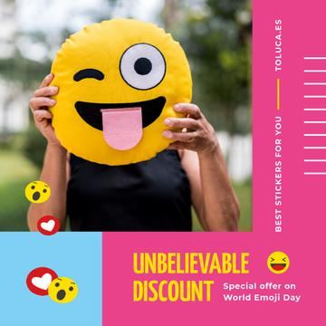 World Emoji Day Offer with Girl Holding Funny Face