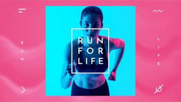Woman Runner in Neon Light