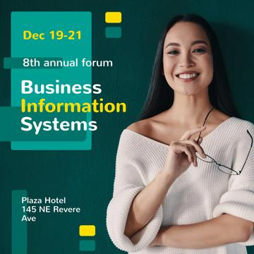 Business Conference Announcement with Smiling Businesswoman