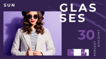 Glasses Offer Woman Wearing Sunglasses on Purple