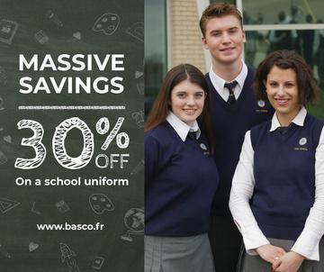 Back to School Sale Students in blue uniform
