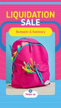 Back to School Sale Stationery in Pink Backpack
