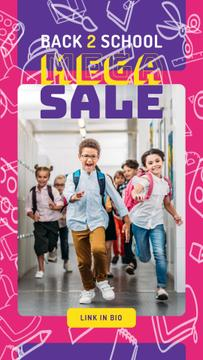 Back to School Sale Running Kids at School