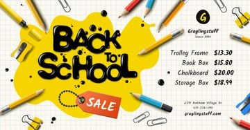 Back to School Sale Stationery and Inscription in Blot