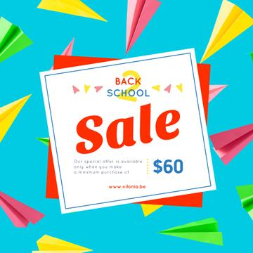 Back to School Sale Colorful Paper Planes on Blue