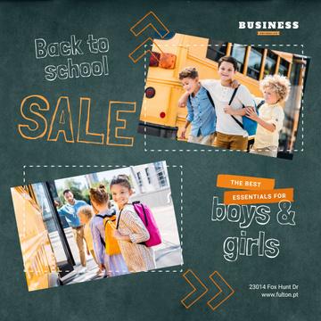Back to School Sale Kids by School Bus