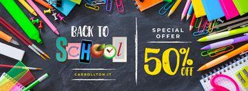 Back to School Sale Stationery on Blackboard