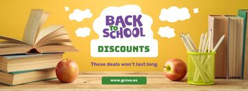 Back to School Discount with Books on Table
