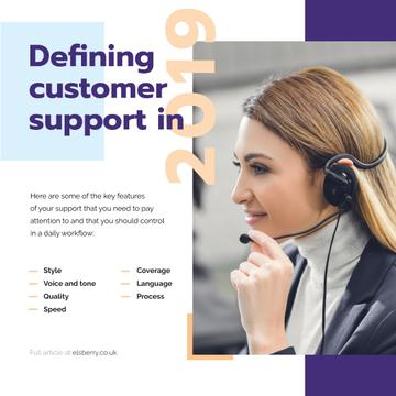 Customers Support Smiling Assistant in Headset