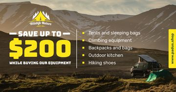 Camping Equipment Offer Travel Trailer in Mountains