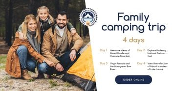 Camping Trip Offer Family by Tent in Mountains