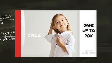 Back to School Sale Smiling Girl in Shirt