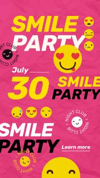 Party Invitation with Emoji on Pink