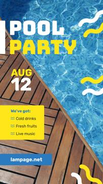 Pool Party Invitation Blue Water and Deck