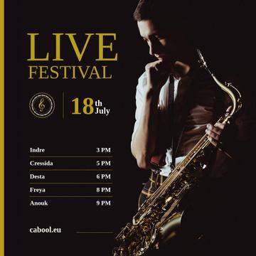 Jazz Festival Musician Holding Saxophone