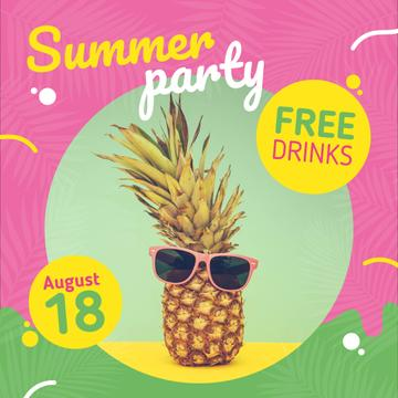 Summer Party Invitation Pineapple in Sunglasses
