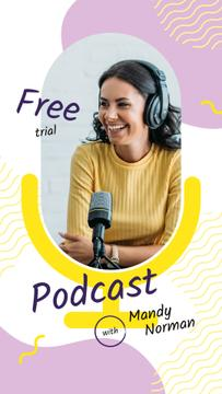 Radio Podcast Announcement Smiling Presenter