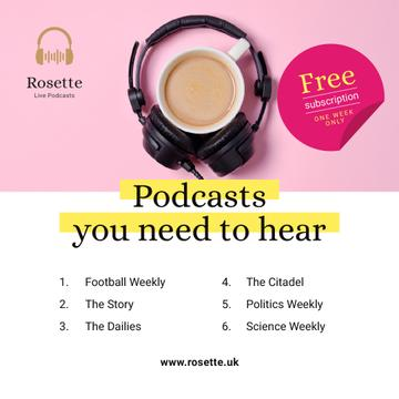 Podcast Ad Headphones on Cup of Coffee in Pink