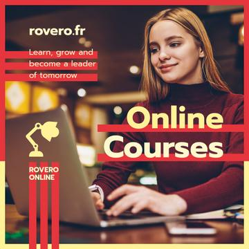 Online Courses Ad Woman Typing on Laptop in Red