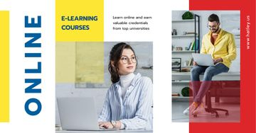 Online Courses Ad People Working on Laptops