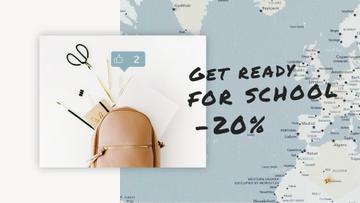 Back to School Sale Stationery in Backpack over Map