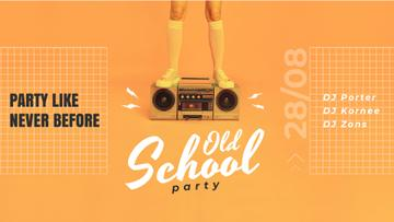 Old School Party Invitation Man Standing on Boombox