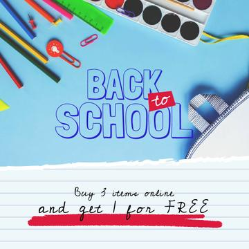 Back to School with School Stationery in Backpack