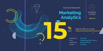 Analytics Metrics Futuristic Icons in Blue