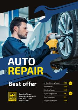 Auto Repair Service Ad with Mechanic at Work
