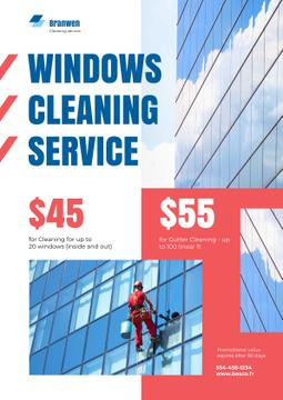 Window Cleaning Service with Worker on Skyscraper Wall