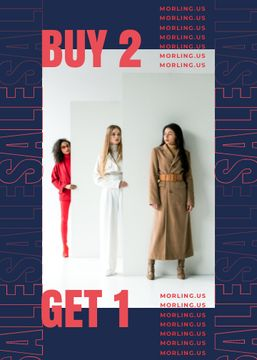 Fashion Offer Women in Stylish Outfits in Studio