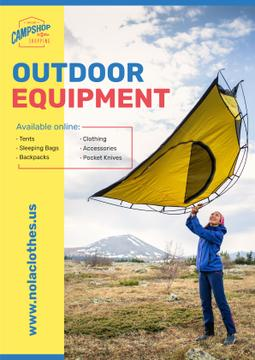 Outdoor Equipment Ad with Woman Adjusting Tent