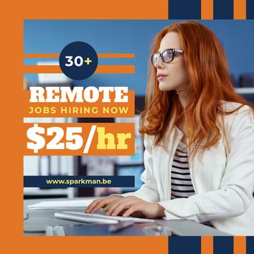 Career Tips Woman Working on Computer in Orange