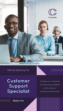 Customers Support Team Working in Headsets