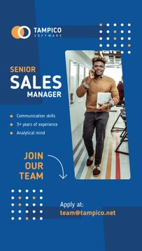 Sales Manager Vacancy Smiling Man in Office