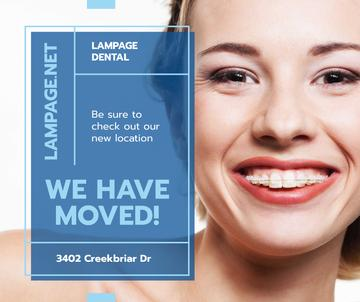 Dental Clinic promotion Woman in Braces smiling