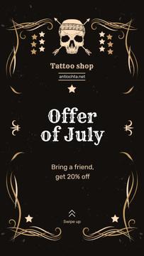 Tattoo Studio Ad Skull in Decorative Frame