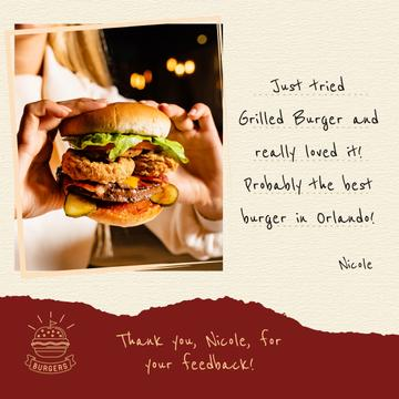 Restaurant Menu Woman Holding Juicy Burger